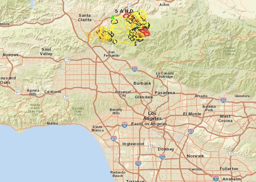 Sand Fire Map Santa Clarita Santa Clarita Fire [MAPS] – Sand Wildfires Updates: Blaze Triples