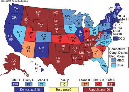 Presidential Polls 2016 and the Electoral College Vote MAPS ...