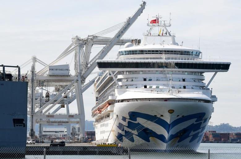 Grand Princess Cruise Ship Docks in Oakland