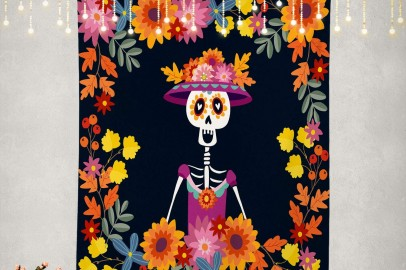 Shrahala Mexican Tapestry, Dia De Muertos Mariachi Band of Skeletons and Wall Hanging Large Tapestry Psychedelic Tapestry Decorations Bedroom Living Room...