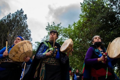 Mapuche indigenous people protest in Santiago, Chile