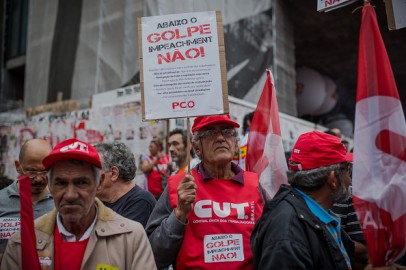 Demonstration Held Against The Current Impeachment Calls For Brazilian President Dilma Roussef