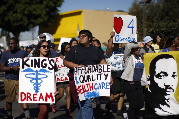 Supporters of the Affordable Care Act, also referred to as Obamacare.