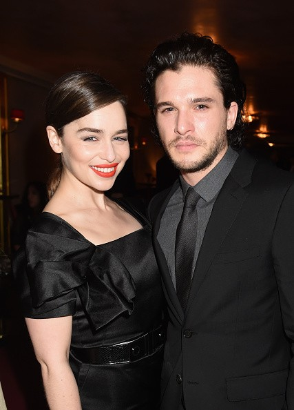 Actors Emilia Clarke and Kit Harington attend the after party for HBO's 'Game of Thrones' Season 5 at San Francisco City Hall on March 23, 2015 in San Francisco, California.