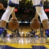 Stephen Curry #30 of the Golden State Warriors warms up before their game against the Portland Trail Blazers in Game Five of the Western Conference Semifinals.