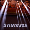 The Samsung logo is displayed on a screen prior to the start of a launch event for the Samsung Galaxy Note 7 at the Hammerstein Ballroom, August 2, 2016 in New York City.