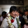 Bolivia's former President Evo Morales arrives at Mendoza for a rally with members of the Bolivian community, in Mendoza