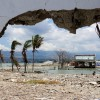 Ruins and damaged building are pictured nearly one year after an earthquake and tsunami at a beach in Palu, Central Sulawesi, Indonesia,