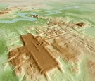 A three-dimensional image of the ancient Maya Aguada Fenix site in Mexico's Tabasco state based on lidar, an aerial remote-sensing method, is seen in this picture released on June 3, 2020.