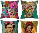 gircat 4 pcs Oil Painting Frida Kahlo Self-Portrait Cotton Linen Throw Pillow Case Car,Cushion Couch,Sofa,Bed Cover 18