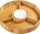 Chip and Dip Serving Bowl – Wooden Appetizer Platter Set with Dip Cup for Salsa, Guacamole, Nacho, Vegetables, Taco Chip, Snacks and More
