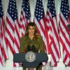 Melania Trump delivers a 25-minute speech during the 2020 Republican National Convention on August 25, 2020 at the White House Rose Garden in Washington DC.