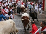 Fighting bulls from the ranch of Victoriano Del Rio Cortes run along the Curva de Estafeta during the fourth day of the San Fermin Running Of The Bulls festival, on July 9, 2014 in Pamplona, Spain