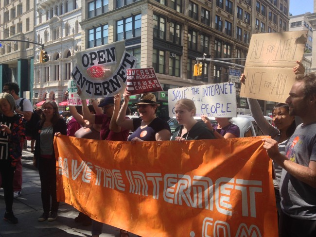 Net Neutrality rally re FCC public comment period, New York, Sept 15 2014