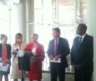 New York Congresswoman Carolyn B. Maloney at City Hall to announce reauthorization of Debbie Smith Act, Oct. 1, 2014