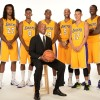 Los Angeles Lakers Coach Byron Scott With Jeremy Lin, Nick Young, Kobe Bryant