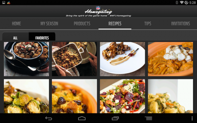 NFL Homegating app, Super Bowl 2015 recipes