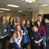 Ailyn Perez (center, sixth from left) with a group of high schools students at the Met Opera Guild's four-day program.