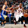 Golden State Warriors Point Guard Stephen Curry and Atlanta Hawks Guard Jeff Teague