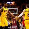 Cleveland Cavaliers Matthew Dellavedova and Tristan Thompson