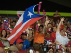 Puerto Rico's flag during a baseball game.