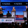 Democratic president candidates (L to R) Bernie Sanders, Hillary Clinton, and Martin O'Malley, debate at Saint Anselm College December 19, 2015 in Manchester, New Hampshire. This is the third Democratic debate featuring Democratic candidates Hillary Clint