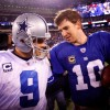 Dallas Cowboys Quarterback Tony Romo and New York Giants Eli Manning