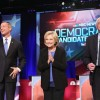 Democratic presidential candidates Martin OMalley (L), Hillary Clinton (C) and Senator Bernie Sanders (I-VT) participate in the Democratic Candidates Debate hosted by NBC News and YouTube on January 17, 2016 in Charleston, South Carolina. This is the fina