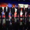 Republican presidential candidates (R-L) Ohio Governor John Kasich, Jeb Bush, Sen. Marco Rubio (R-FL), Sen. Ted Cruz (R-TX), Ben Carson, New Jersey Governor Chris Christie and Sen. Rand Paul (R-KY) pose for photographers prior to the Fox News - Google GOP